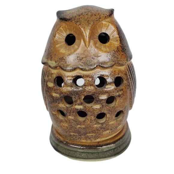 Vintage Owl tealight candle lantern pottery Japan